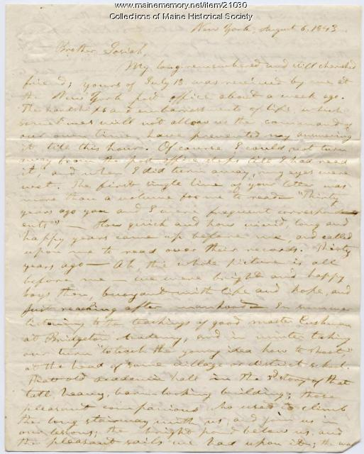 Seba Smith to Josiah Pierce, 1843