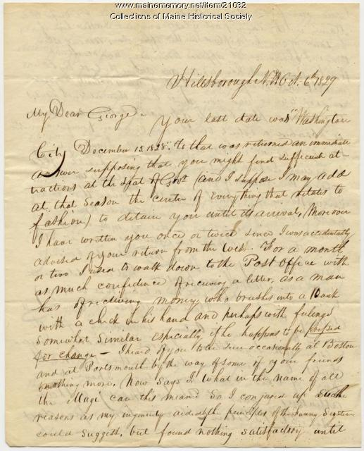 Franklin Pierce letter to George W. Pierce, 1829