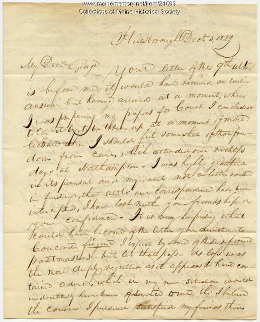 Franklin Pierce letter about future prospects, 1829