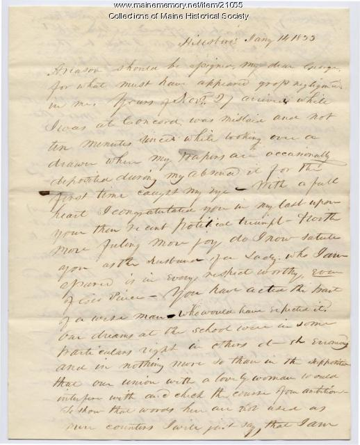 Franklin Pierce letter about marriage, 1833