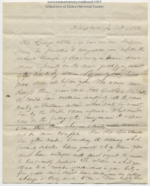 Franklin Pierce letter to George W. Pierce, 1833