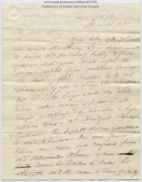 Franklin Pierce on political defeats, 1834