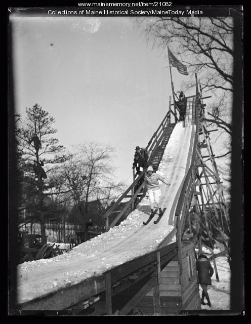 Ski jump, Western Promenade, Portland, 1924