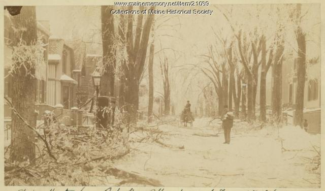 Spring Street, Portland, after ice storm, 1886