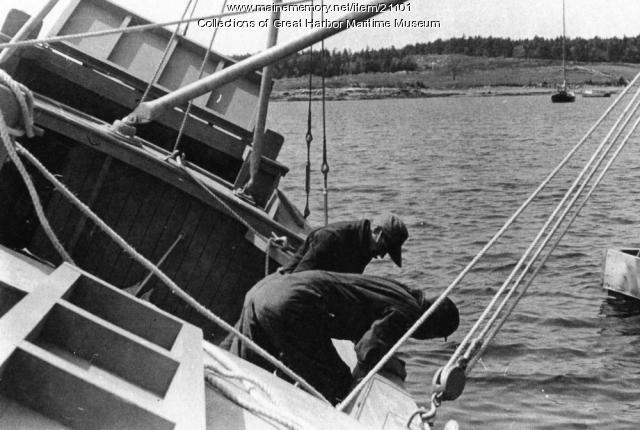 WWII Buoy Boat testing, Mt. Desert, ca. 1943