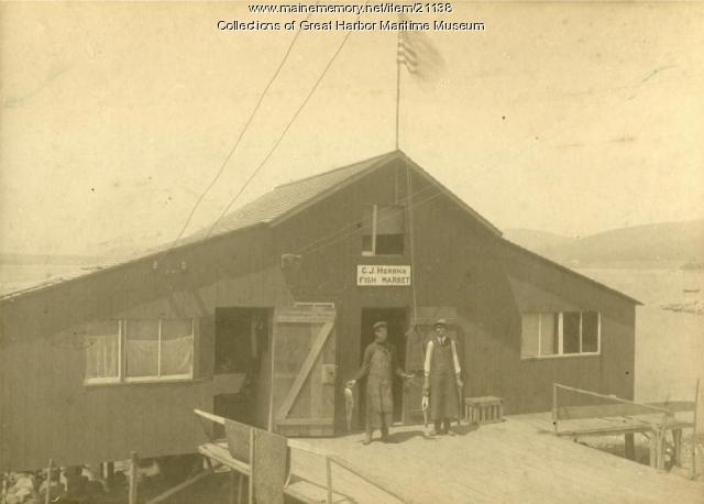 C.J. Herrick Fish Market, Northeast Harbor, ca. 1910