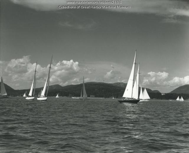 International One Design Sailboats Racing off Northeast Harbor, ca. 1945
