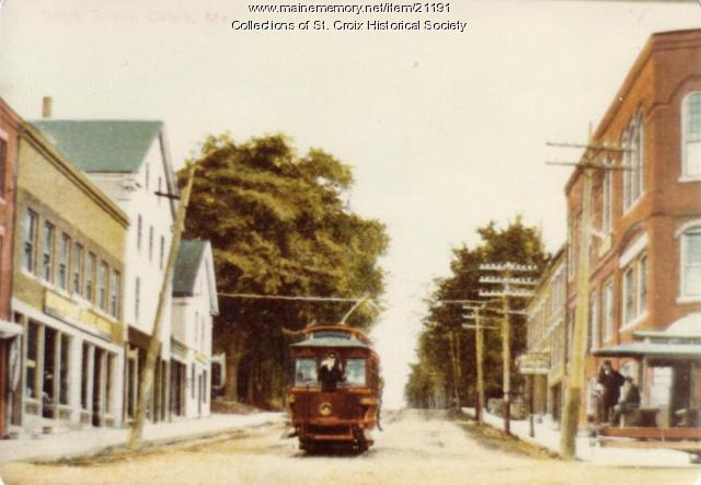 Calais Street Railway car descending North St., Calais, ca. 1900