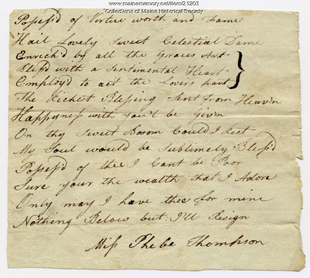 Poem from Josiah Pierce to Phebe Thompson, ca. 1786