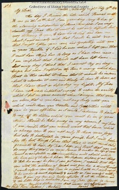 Josiah Pierce to wife, 1814