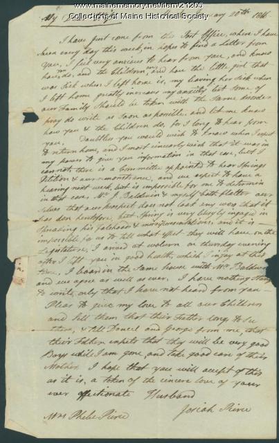 Josiah Pierce to wife, Baldwin, 1816