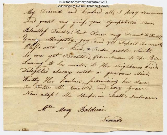 Josiah Pierce eulogy poem, ca. 1786