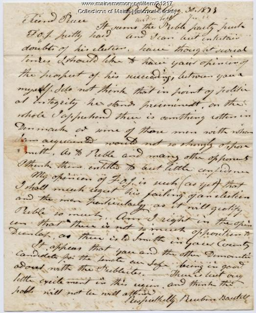 Reuben Bartlett to Josiah Pierce, 1833