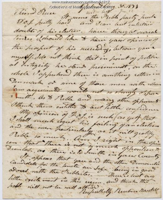 Reuben Bartlett to Josiah Pierce, 1833