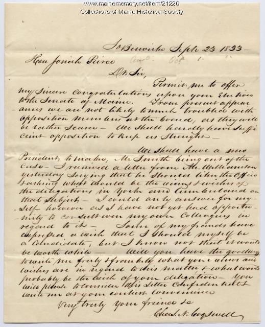 Charles N. Cogswell to Josiah Pierce, 1833