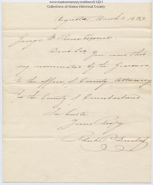 G.W. Pierce nomination as County Attorney, 1833