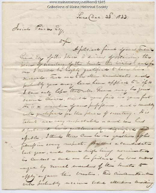John Fairfield to Josiah Pierce, 1833
