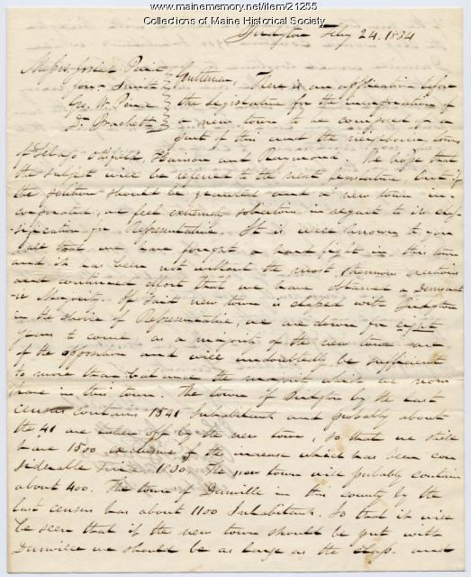Letter concerning proposal for new town, 1834