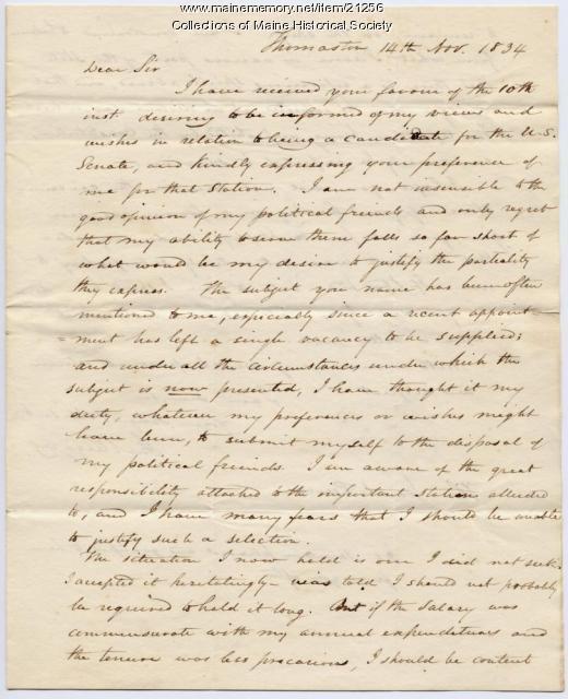John Ruggles letter concerning U.S. Senate, 1834