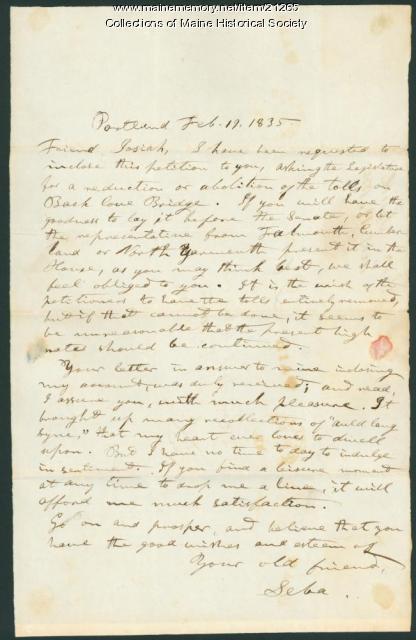 Seba Smith letter concerning tolls, 1835