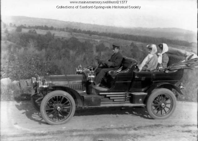 Automobile with Chauffeur and Two Ladies, ca. 1910