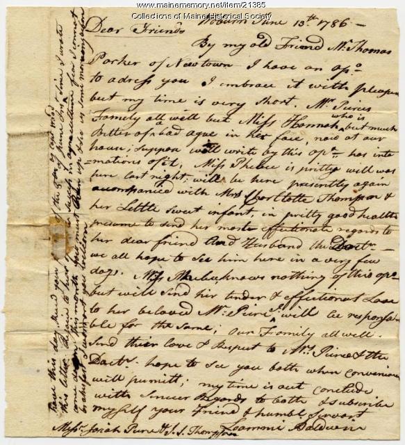 Loammi Baldwin to Josiah Pierce and I.S. Thompson, 1786