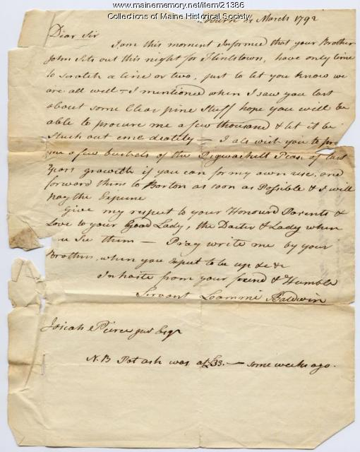 Loammi Baldwin to Josiah Pierce, 1792