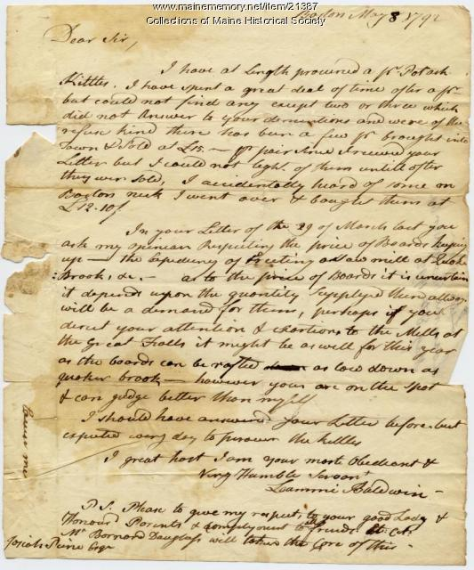 Loammi Baldwin on price of pine boards, 1792