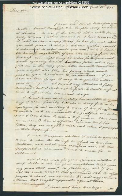 Loammi Baldwin, Woburn, Mass., on ending partnership, 1796