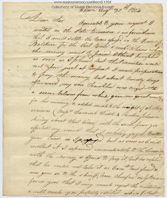 Loammi Baldwin on failure to pay taxes, 1804