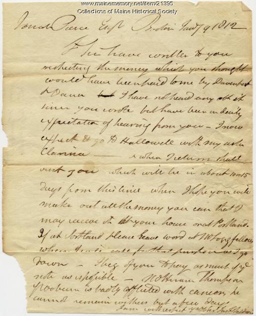 James F. Baldwin to Josiah Pierce, 1812