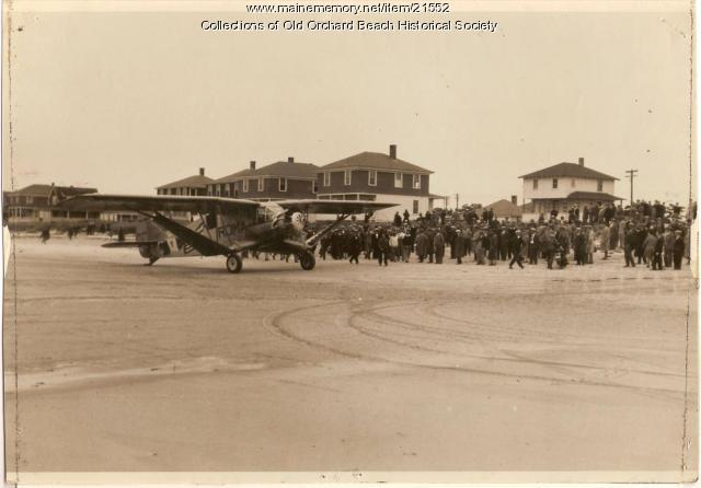 'The Roma' ready for flight, Old Orchard Beach, 1928