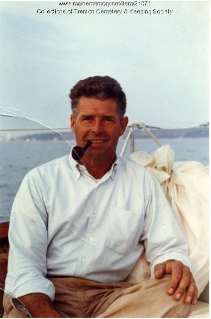 Donald Bryant on Rockefeller yacht, Seal Harbor, ca. 1981