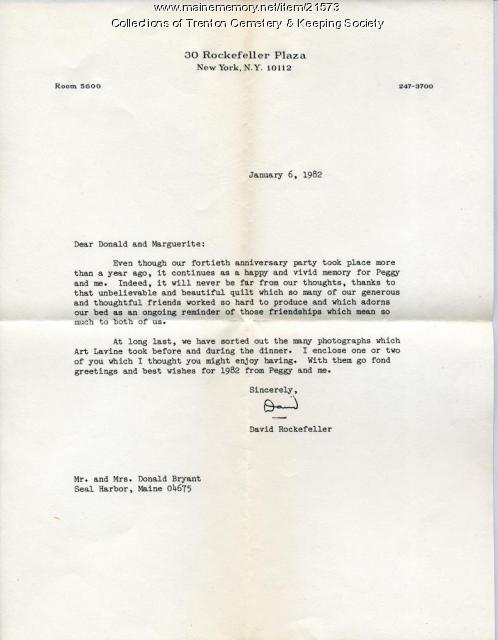 Letter to Donald and Marg Bryant from David Rockefeller