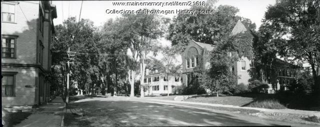 Skowhegan Free Public Library and Elm Street, ca. 1940
