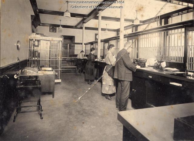 Caribou National Bank interior, ca. 1922