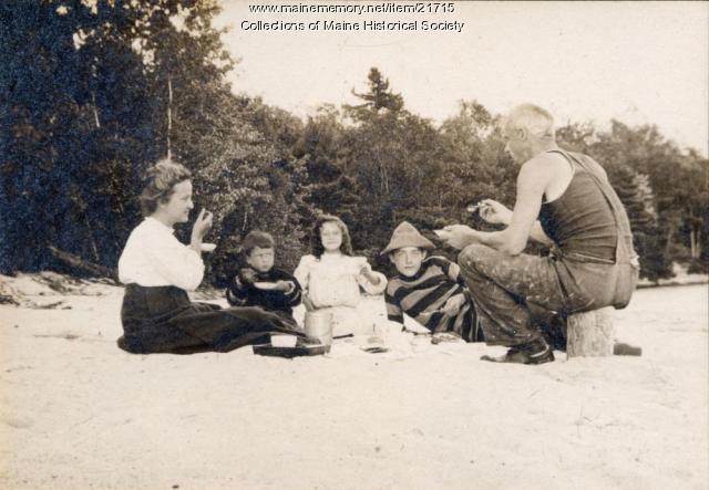 Schatzel family at the beach, Otisfield, 1908