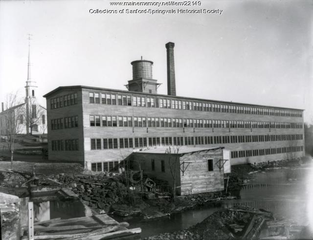 New Shoe Factory, Corner of Bridge and Pleasant Streets, Springvale, ca. 1906
