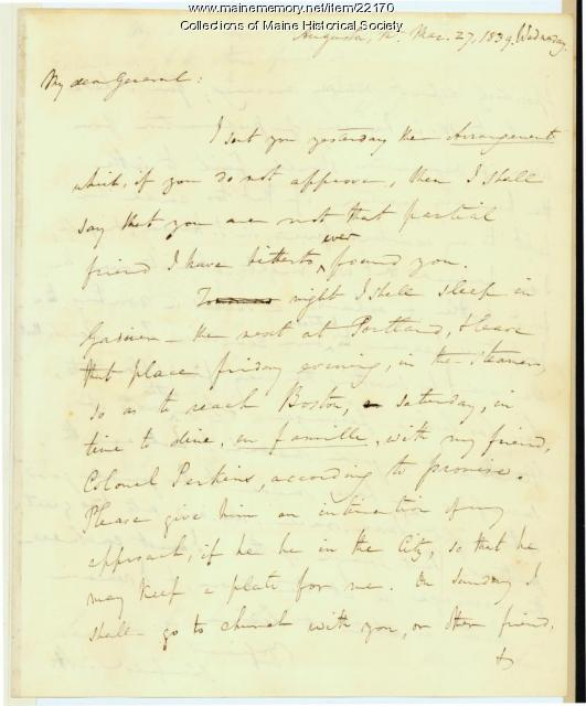Winfield Scott letter to Gen. Henry Dearborn, 1839