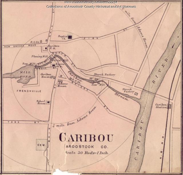 Map Of Caribou Ca 1870 Maine Memory Network