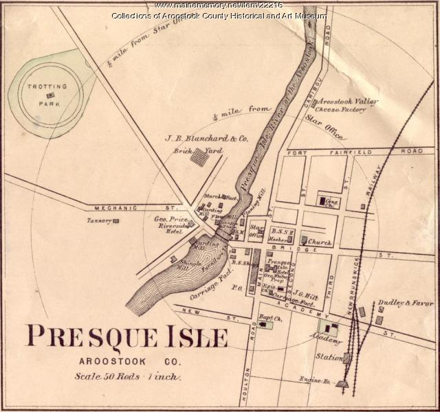 Map Of Presque Isle Ca 1870 Maine Memory Network