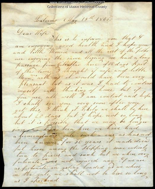 John Dillingham letter from Palermo, 1846