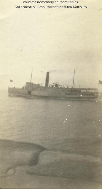 Steamer J.T. Morse Passing Mark Island, off Stonington, ca. 1930