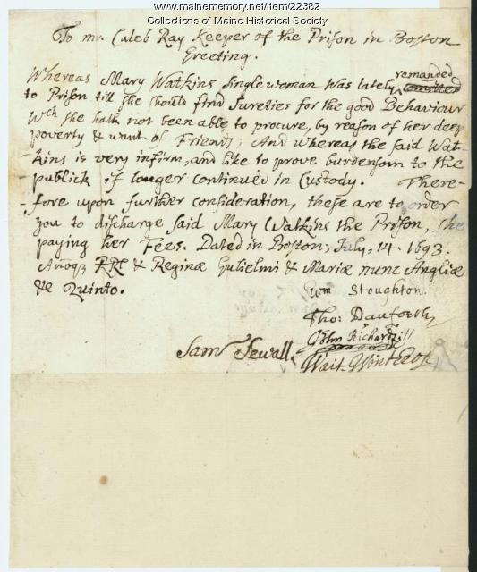 Samuel Sewall letter regarding female prisoner, 1693