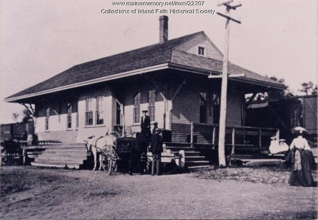 Bangor and Aroostook Railroad station, Island Falls, 1896