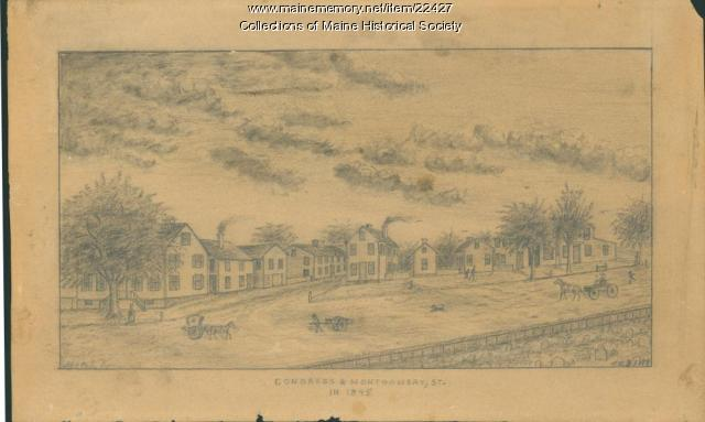 Congress and Montgomery streets, Portland, 1845
