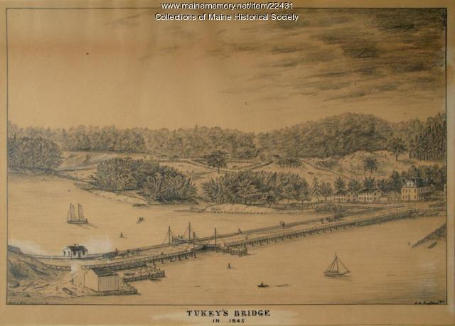 Tukey's Bridge, Portland, ca. 1845