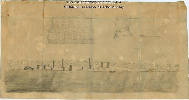 Ink sketch of Tripoli, 1804