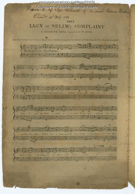 Eliza Wadsworth sheet music, 1798