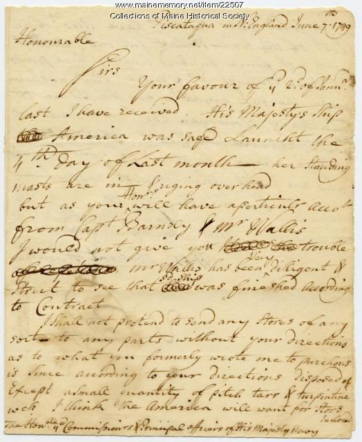 William Pepperrell letter on completion of ship, 1749